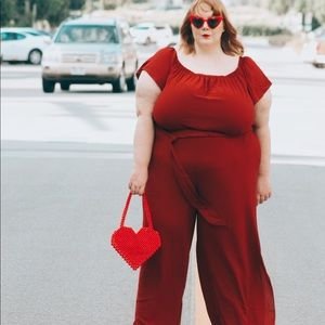 Rachel Roy burgundy jumpsuit